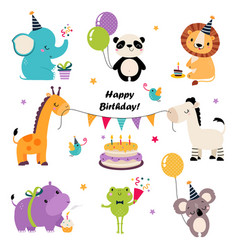 Happy birthday set adorable baanimal vector