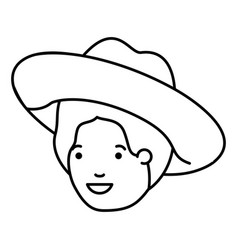 head man with hat avatar character vector image