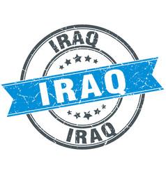 Iraq blue round grunge vintage ribbon stamp vector