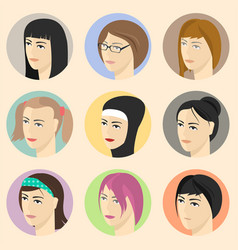 Isometric women faces vector