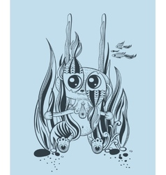 It is a cute underwater creature vector image