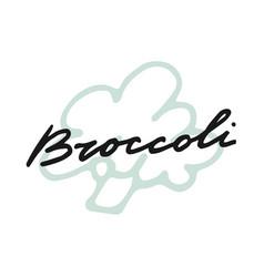 Label print lettering broccoli vector