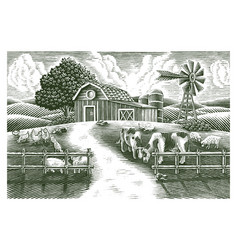 Landscape animal farm hand draw vintage vector