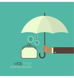 Male hand holding an umbrella vector