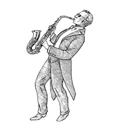 man plays trumpet musician with a classic vector image