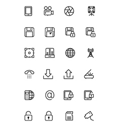 Media Line Icons 4 vector image