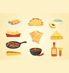 Mexican cuisine cartoon dishes set vector