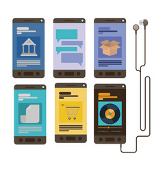mobile security with set of smartphones in white vector image