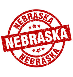 Nebraska red round grunge stamp vector