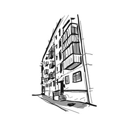 old apartment house sketch for your design vector image