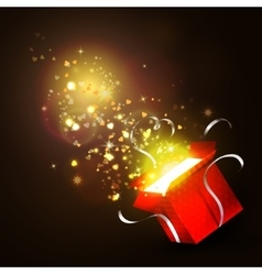 Open gift box with bright rays of light vector image