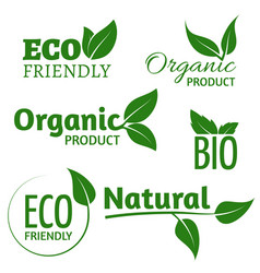 Organic eco logos with green leaves bio vector