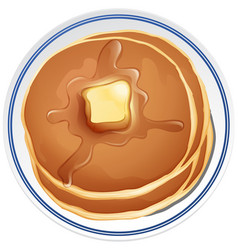 Pancake with butter on the plate vector