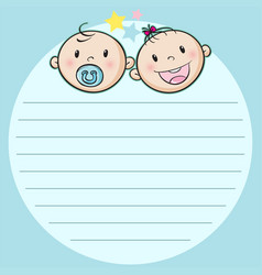 Paper design with two babies vector