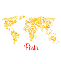 Pasta or italian macaroni world map vector