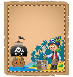 Pirate boy on coast theme parchment 1 vector
