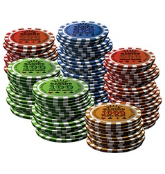 Poker chip many isolated white background vector image