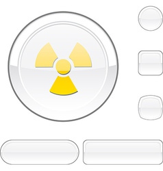Radiation white button vector