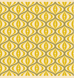 Retro mid-century yellow saucer seamless pattern vector