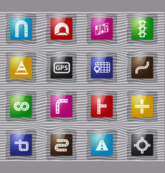 road glass icons set vector image