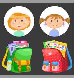 Schoolbags and school children avatars stationery vector