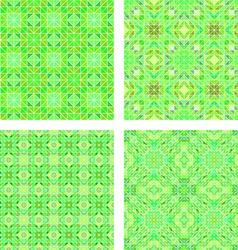 Seamless green mosaic pattern set vector