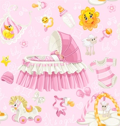 Seamless pattern of cribs toys and stuff on pink vector