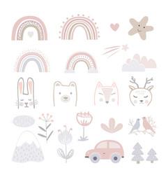 Set cartoon childhood symbols and icons vector