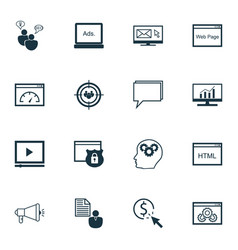 Set of 16 seo icons includes video player focus vector
