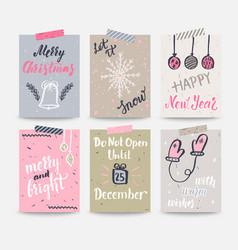 Set of christmas and happy new year greeting cards vector