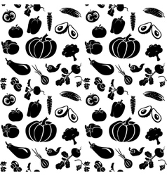 set of silhouettes vegetables vector image