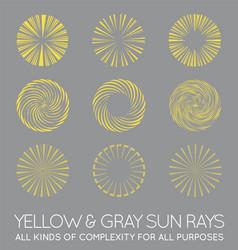 Set sunburst rays sun in trendy yellow vector