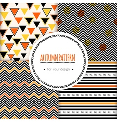 Set with seamless autumn pattern vector