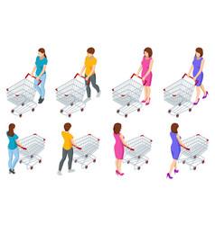 Shopping cart full food woman pushing vector