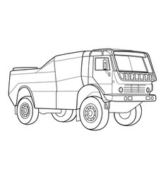sketch a big truck coloring book cartoon vector image