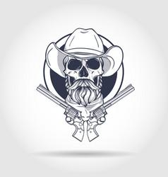 sketch skull with cowboy vector image