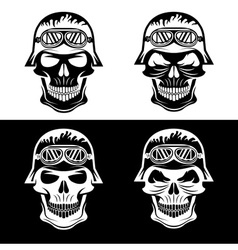 Skull in helmet set biker theme design template vector