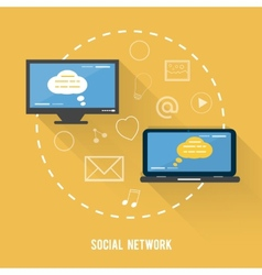 Social network concept in flat design vector image