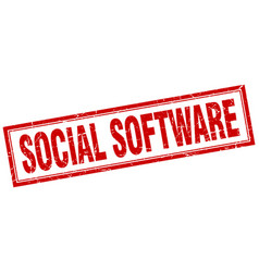 Social software square stamp vector