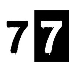 stencil numeral 7 and drip paint black on white vector image