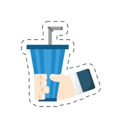 straw soda in hand icon image vector image vector image