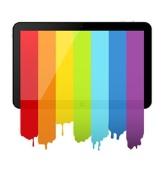 Tablet PC with rainbow paint vector image