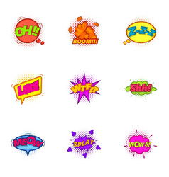 Trendy pop art label icons set cartoon style vector