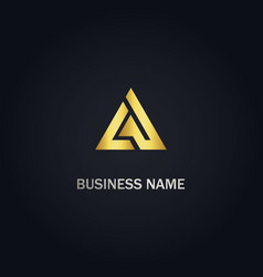 triangle delta shape company gold logo vector image