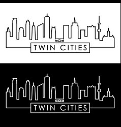 twin cities skyline linear style editable file vector image