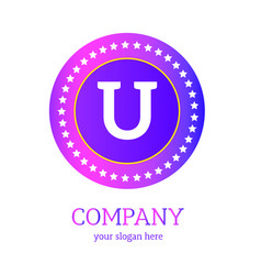 u letter logo design u icon colorful and modern vector image