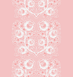 Vertical lace seamless ribbon with roses white vector