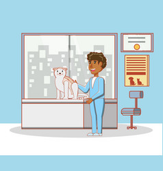 Veterinary with cat in medical center vector