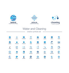 Water drops waves and cleaning creative symbols vector