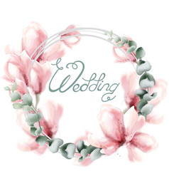 wedding wreath with pink flowers watercolor vector image